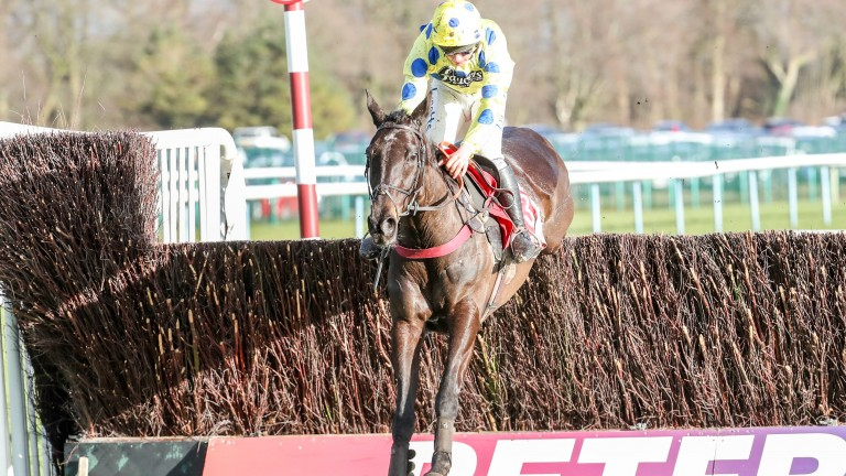 Happier times: Charlie Deutsch heads for victory on Yala Enki at Haydock in February