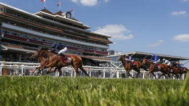 NEWBURY, ENGLAND - MAY 19:  Ryan Moore riding Rhododendron (2L, dark blue) win The Al Shaqab Lockinge Stakes from Lightning Spear (L) at Newbury Racecourse on May 19, 2018 in Newbury, United Kingdom. (Photo by Alan Crowhurst/Getty Images)