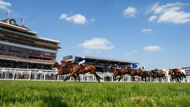 Close call: Aidan O'Brien's Rhododendron (near; Ryan Moore) narrowly gets the better of Lightning Spear (far; Oisin Murphy) in the feature Group 1 Al Shaqab Lockinge Stakes