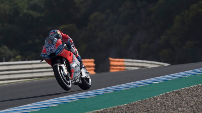 Andrea Dovizioso and his Ducati during practice at Le Mans
