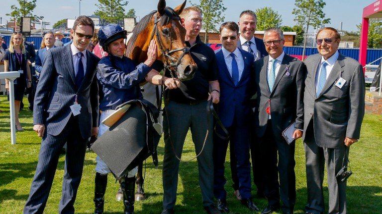 Lockinge winners: Rhododedron and her team at Newbury