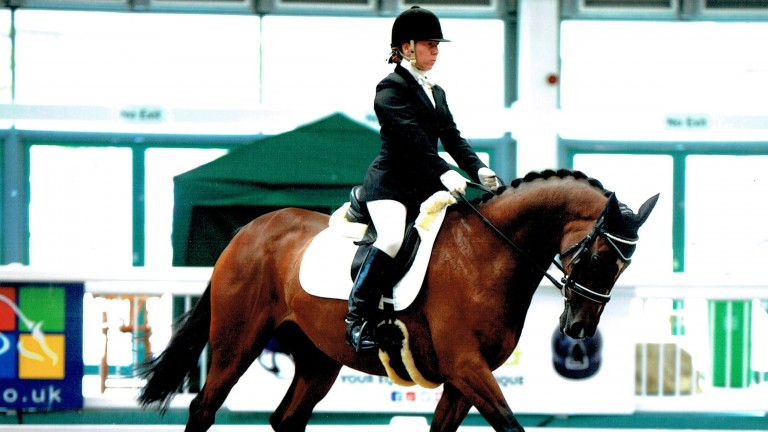 Tamsin Karn and her ex-racehorse Heezazari, now a talented dressage horse