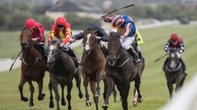 Sioux Nation and Ryan Moore winning the Goffs Lacken Stakes (Group 3).Naas.Photo: Patrick McCann 20.05.2018