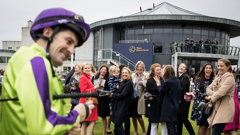 Ladies' day: a shy Colm O'Donoghue approaches the It's All About The Girls syndicate before riding Chicas Amigas