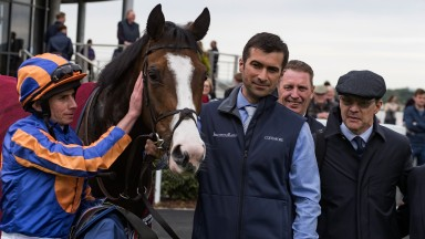 Well done: Ryan Moore gives Broadway an affectionate pat after her comfortable success
