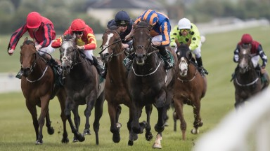 Sioux Nation and Ryan Moore winning the Group 3 Goffs Lacken Stakes at Naas