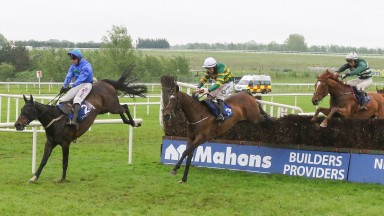Asthuria lands over the last in front in the feature mares chase at Limerick