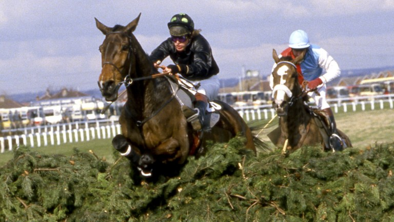 Hallo Dandy and Neale Doughty (left) on the way to victory in the 1984 Grand National, before the horse had to be rescued from a miserable existence