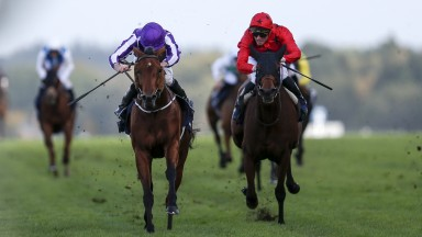 Bateel (right) made an impressive return to action at Saint-Cloud on Monday, her first run since finishing second to Hydrangea at Ascot last October.