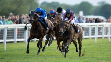The Tin Man (Tom Queally,right) beats D'Bai (left) in the listed 6f raceWindsor 21.5.18 Pic: Edward Whitaker