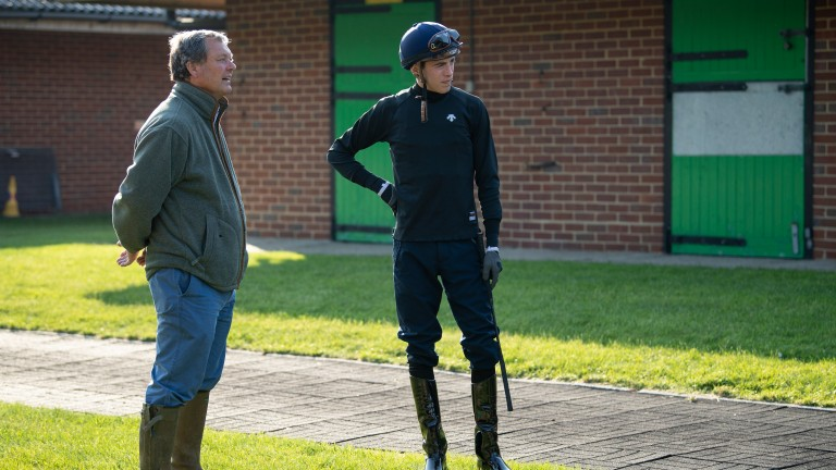 Derby discussions: William Haggas and James Doyle in talks before Young Rascal heads to the track