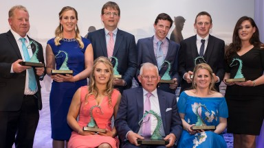 A group shot of the overall winners Back row: Martin 'Snowy' Pearce, Camilla Sharples, Peter Roe, Stephen Thorne, James Rath, Mary Nugent Front row (right to left): Georgie Benson, Pat Farrell and Gillian Carey.2018 Godolphin Stud & Stable Staff Awards.Kn