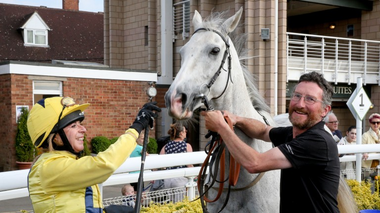 Victoria Smith and Roy Rocket after finishing second in the charity race