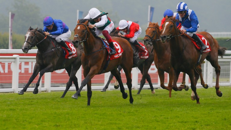 Without Parole and Frankie Dettori (centre) hold off Gabr (right) to land the Heron Stakes