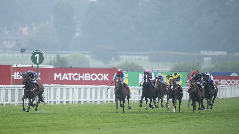 Spellbinding: Chester Cup star Magic Circle (left) surges clear to win the Henry II Stakes in superb style