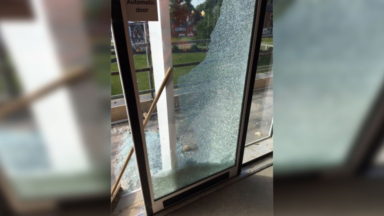 A smashed door in Thirsk's new owners' and trainers' building, which is under construction