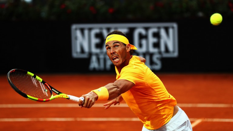 Rafael Nadal on his way to victory over Alexander Zverev in the Rome Masters final