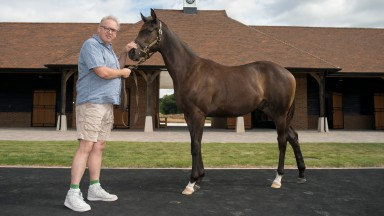 Andrew Black poses with a yearling at Chasemore Farm