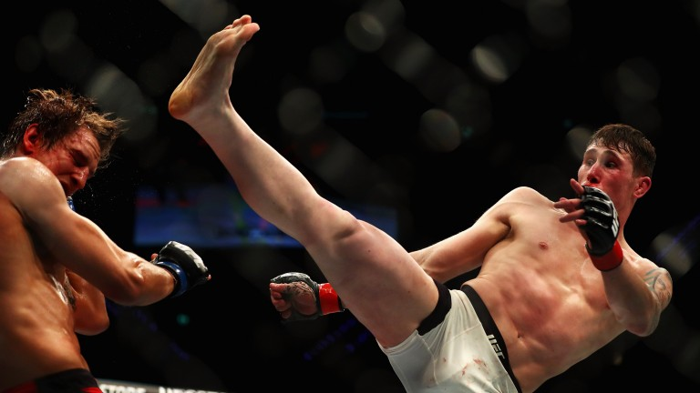 Darren Till kicks Bojan Velickovic in the face