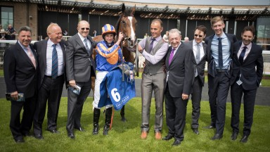 Michael Tabor, Ryan Moore, Derrick Smith, Aidan O'Brien and Paul Smith with Just Wonderful after winning the Irish Stallion Farms EBF Fillies Maiden