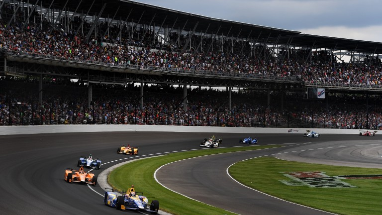 The field stream around the famous track in last year's Indianapolis 500