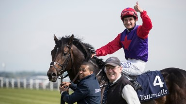Shane Foley guves a thumbs up after landing the Tattersalls Irish 2,000 Guineas (Group 1) on Romanised.The Curragh.Photo: Patrick McCann 26.05.2018