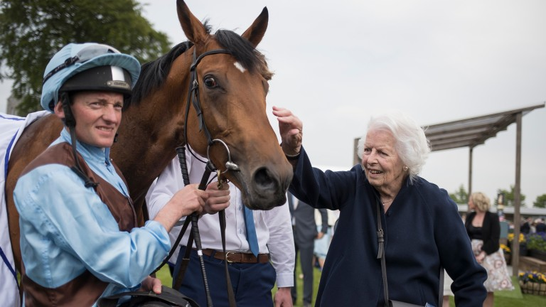 Well done: owner Evie Stockwell gives Fairyland an affectionate pat after her Listed success
