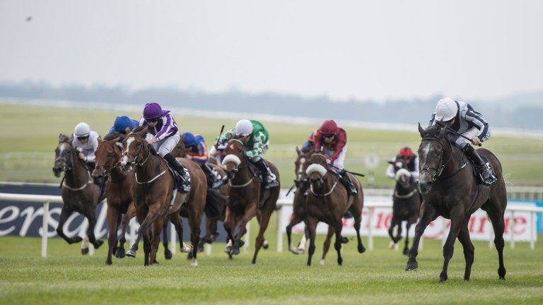 Alpha Centauri (right) comes home strongly to land the Irish 1,000 Guineas