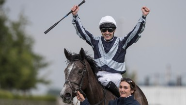 Colm O'Donoghue celebrates winning the Tattersalls Irish 1,000 Guineas on Alpha Centauri (groom Debbie Flavin).The Curragh.Photo: Patrick McCann 27.05.2018