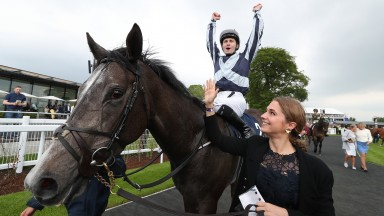 Delight: Colm O'Donoghue after landing the Tattersalls 1,000 Guineas