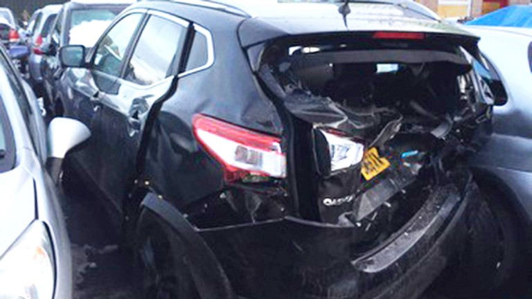 Racing presenter Rob Hogarth's car after it was hit by Will Young's Mercedes