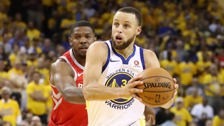 Steph Curry of Golden State in action against Houston