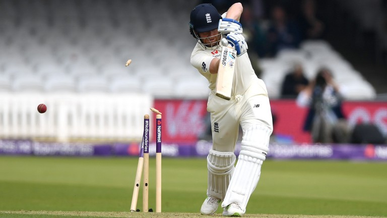 Jonny Bairstow is bowled by Faheem Ashraf during England's first-innings collapse at Lord's