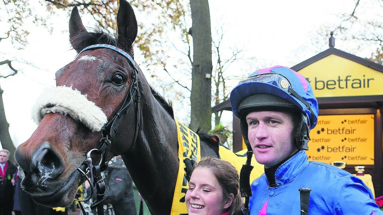 Joe Tizzard and Cue Card after the 2013 Betfair Chase