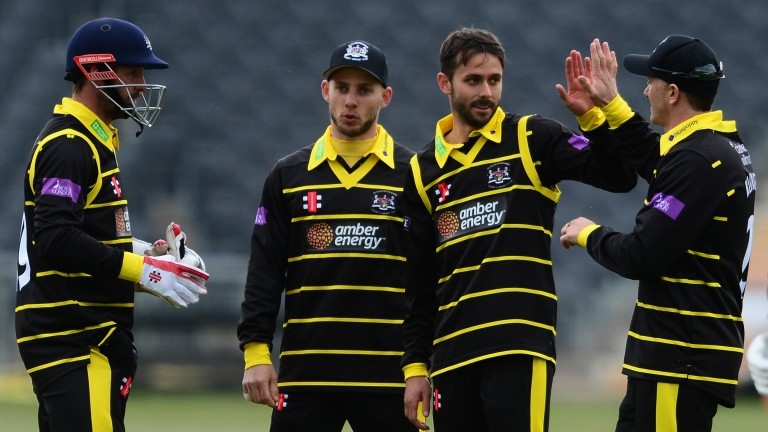 Gloucestershire's Jack Taylor celebrates a wicket against Glamorgan