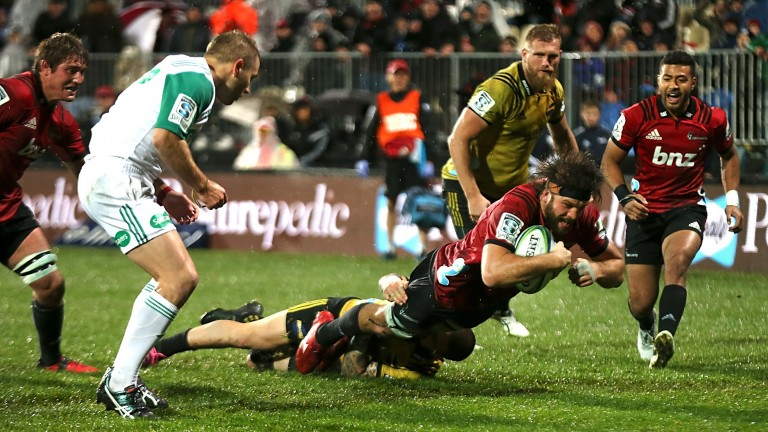 Heiden Bedwell-Curtis scores a try for the Crusaders against the Hurricanes