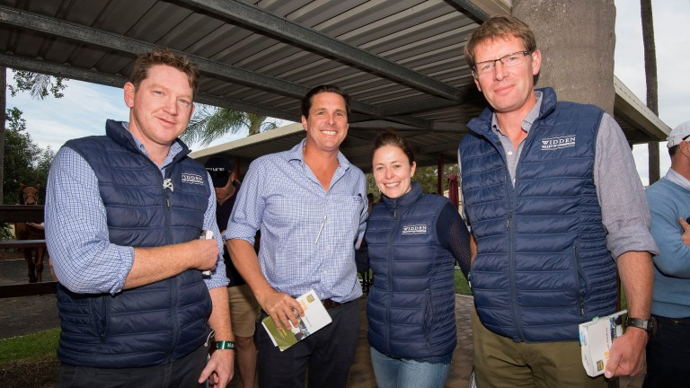 Hannah Wall and David Redvers (right) with the Widden Stud team at the Gold Coast