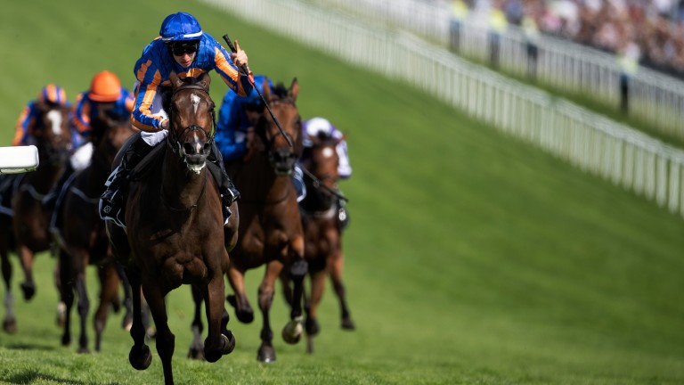 Crowning moment: Donnacha O'Brien wins the Oaks on Forever Together