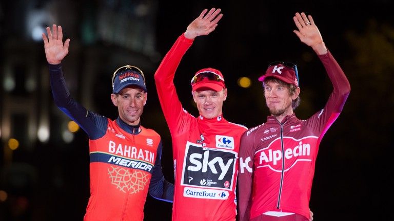 Vincenzo Nibali (left) finished second to Chris Froome in the Vuelta a Espana