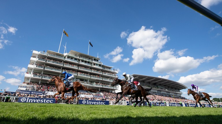 Dee Ex Bee (silver) chases Masar home in the Derby. The Irish Derby is likely to be next for Mark Johnston's colt