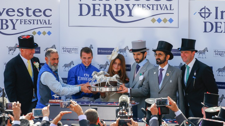 Presentation to winning connections of Masar The Investec Derby (Group 1) (Entire Colts & Fillies) Epsom 2/6/2018©cranhamphoto.com