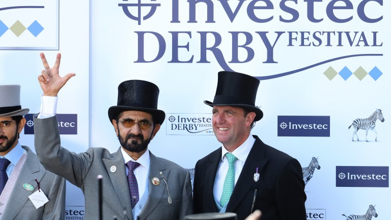 EPSOM, ENGLAND - JUNE 02:  Godolphin owner Sheikh Mohammed celebrates his horse Masar winning the Investec Derby race with trainer Charlie Appleby on Derby Day at Epsom Downs on June 2, 2018 in Epsom, England.  (Photo by Warren Little/Getty Images)