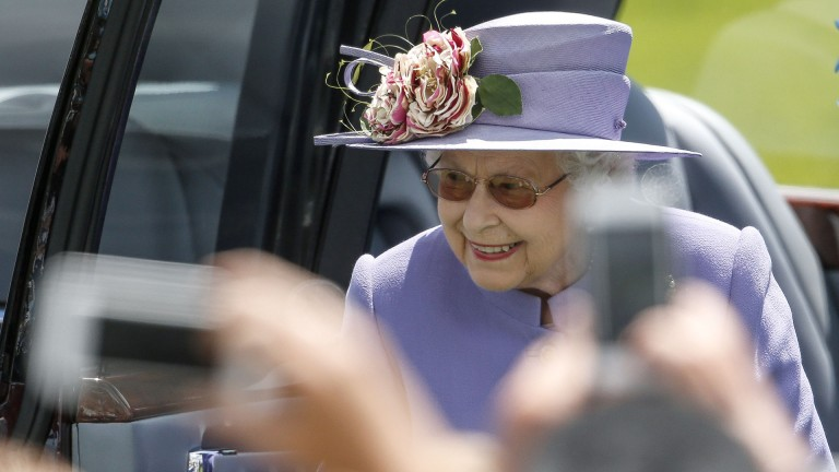 Centre of attention: crowds flock to see the Queen on Her Majesty's arrival