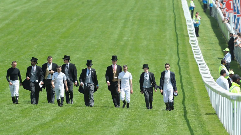 Here come Aidan's army: team Ballydoyle walk down the track in search of the best ground ahead of the Investec Derby