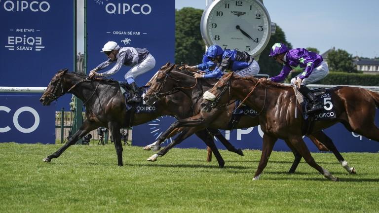 Study Of Man (left) wins the Prix du Jockey-Club under Stephane Pasquier