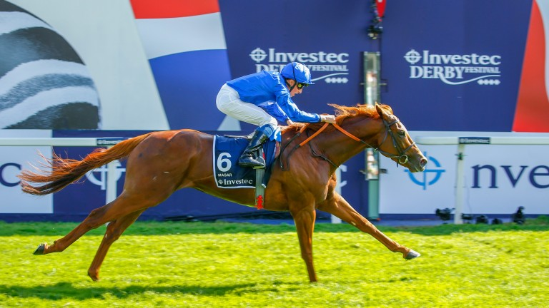 Masar and William Buick win the Derby at Epsom on Saturday. The colt could be heading to the Curragh next