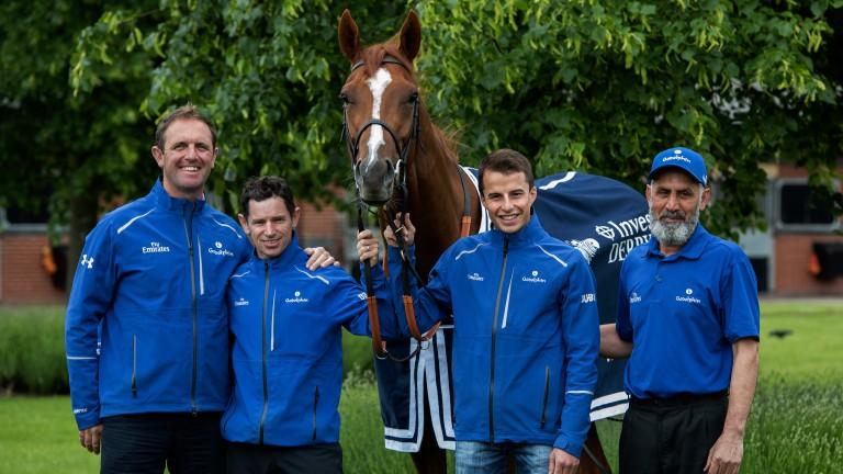 Brett Doyle (second left) with Godolphin Derby hero Masar