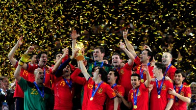Spain celebrate with the World Cup in 2010