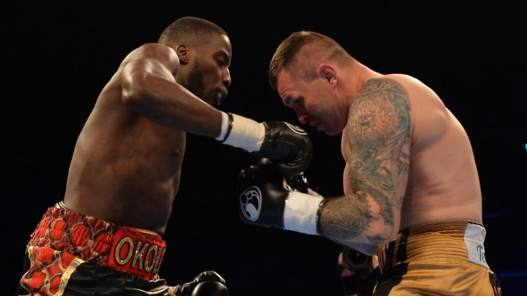 Lawrence Okolie (left) takes on Luke Watkins