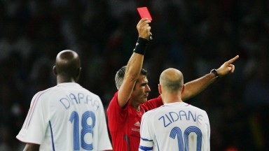 France's Zinedine Zidane is shown a red card at the 2006 World Cup